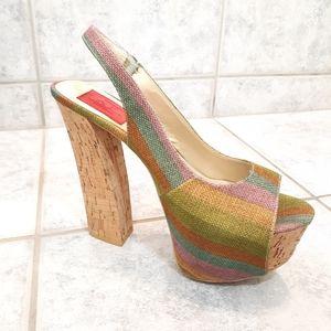 Women sandals platform heel sling back size 7.5